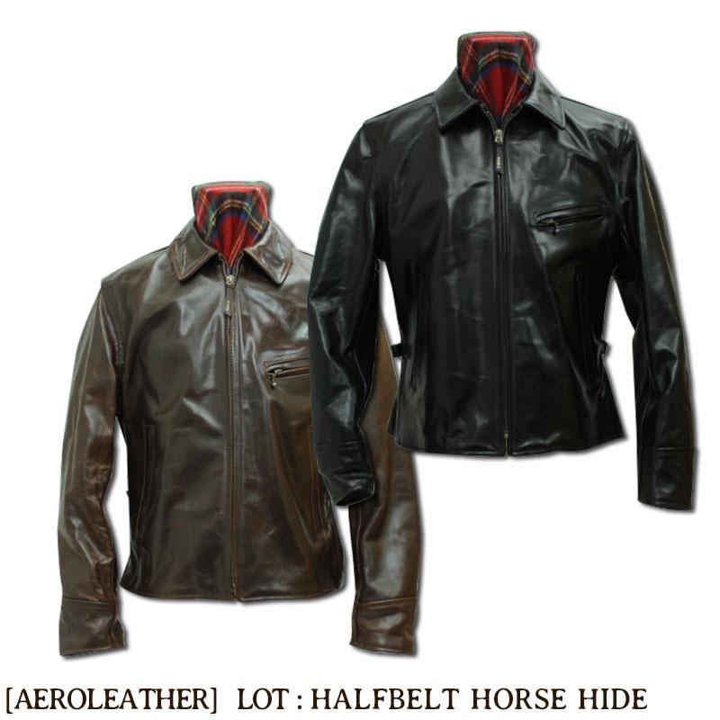 \1日はポイント最大級/ エアロレザー AERO LEATHER レザージャケット 革ジャン 革 メンズ Half Belt Heavy Front Quarter Horsehide [HALF BELT HORSEHIDE]