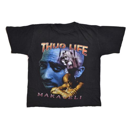 VINTAGE ITEMは古着特有のダメージや使用感が見受けられる場合が御座います Tupac THUG ストア LIFE 激安通販販売 MAKAVELI Vintage 2pac ツーパック Tシャツ 古着 T-shirt ヴィンテージ