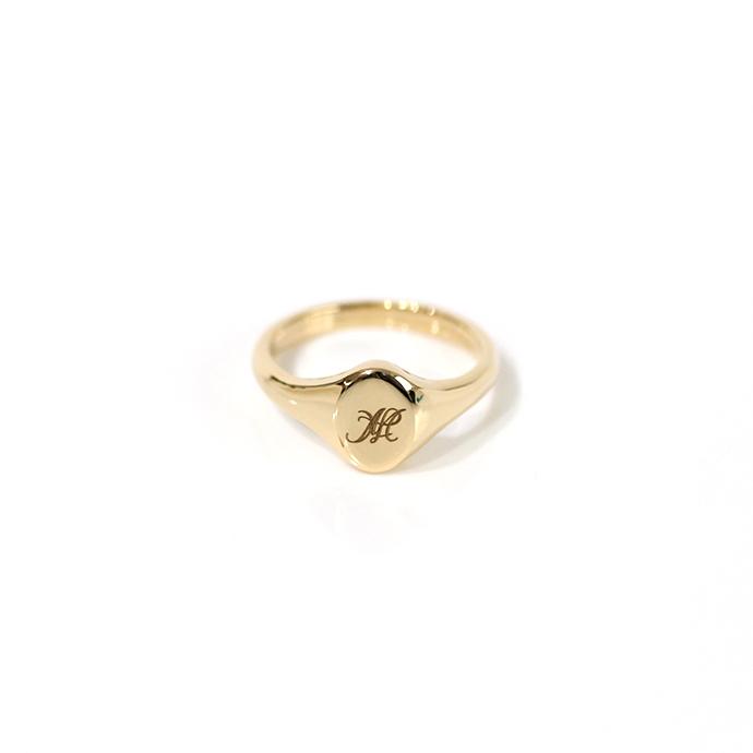 hirondelle et pepin(イロンデール エ ペパン) k18 hr-19fw-555 ラウンドシグネットリング■刻印 18金 指輪 プレゼント ギフト シンプル 女性 ハンドメイド 誕生日プレゼント クリスマスプレゼント
