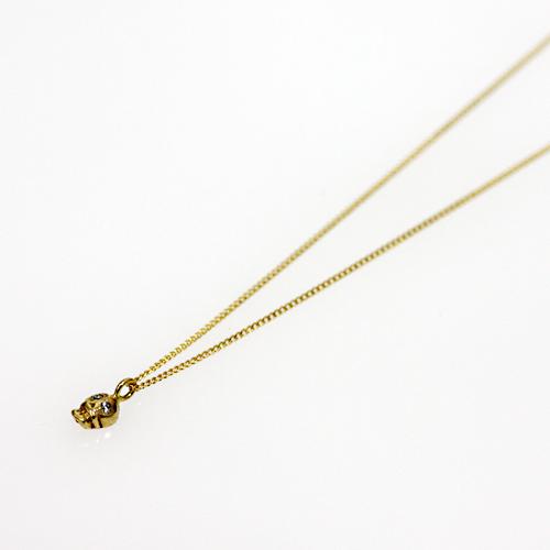18金 ネックレス hirondelle(イロンデール)k18 h-n-8-2-177 スカルネックレス/ダイヤ【送料無料】