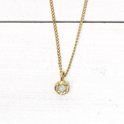 18金 ネックレス hirondelle(イロンデール)k18 hn-404 4つ爪ローズカット ダイヤ ネックレス【送料無料】 市場