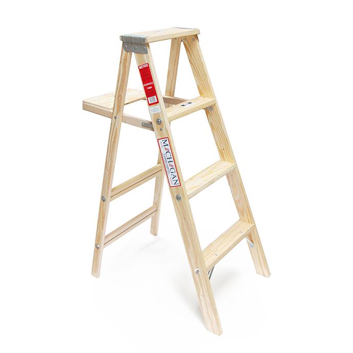 【送料無料】【代引き不可】Michigan Ladder Company / Wood Step Ladder ウッドステップラダー - Size 4