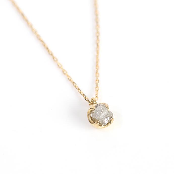 sinc(シンク) k18 一粒 原石ダイヤモンド ネックレス/グレー  市場 買い回り 買い周り 買いまわり ポイント消化