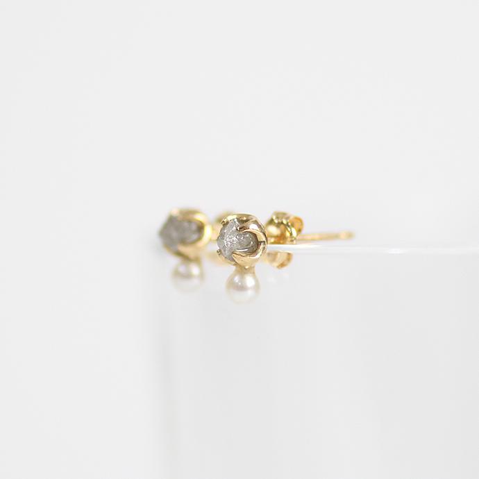 sinc(シンク) k18 原石ダイヤモンドピアス/グレー(パール付き)  市場 買い回り 買い周り 買いまわり ポイント消化