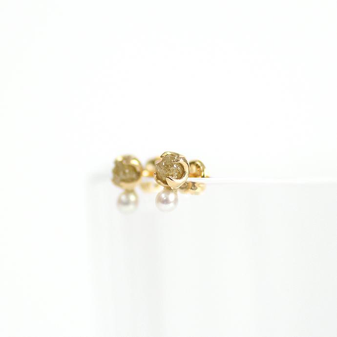 sinc(シンク) k18 原石ダイヤモンドピアス/イエロー(パール付き)  市場 買い回り 買い周り 買いまわり ポイント消化