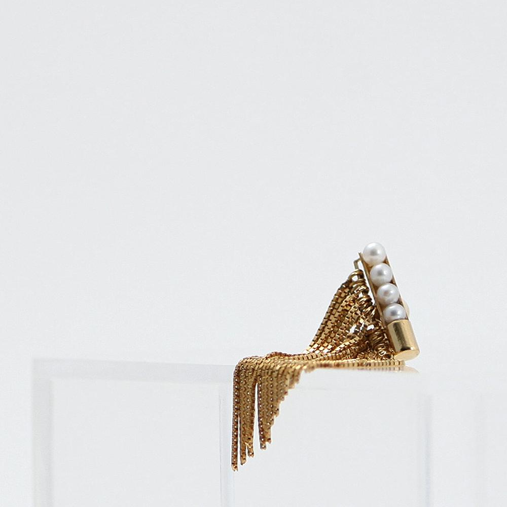 yum. / k18 ゴールド フリンジ パール イヤリング (片耳タイプ) / E-34a-18c■レディース シンプル 結婚式 パーティ 誕生日プレゼント クリスマスプレゼント ゴールドアクセサリー おしゃれ かわいい 真珠