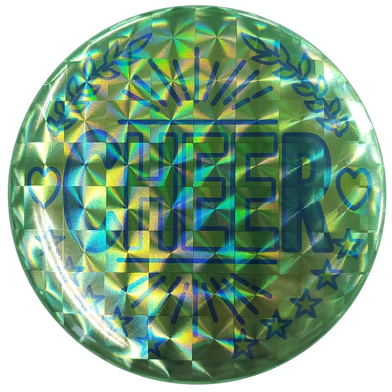 超激安特価 缶バッチ 丸形ホログリーンR 日本正規代理店品 チア 丸形 ホロ グリーン 緑 チアガール チアリーディング 高さ5.7cm エイティズ 幅5.2cm チアダンス CHEER