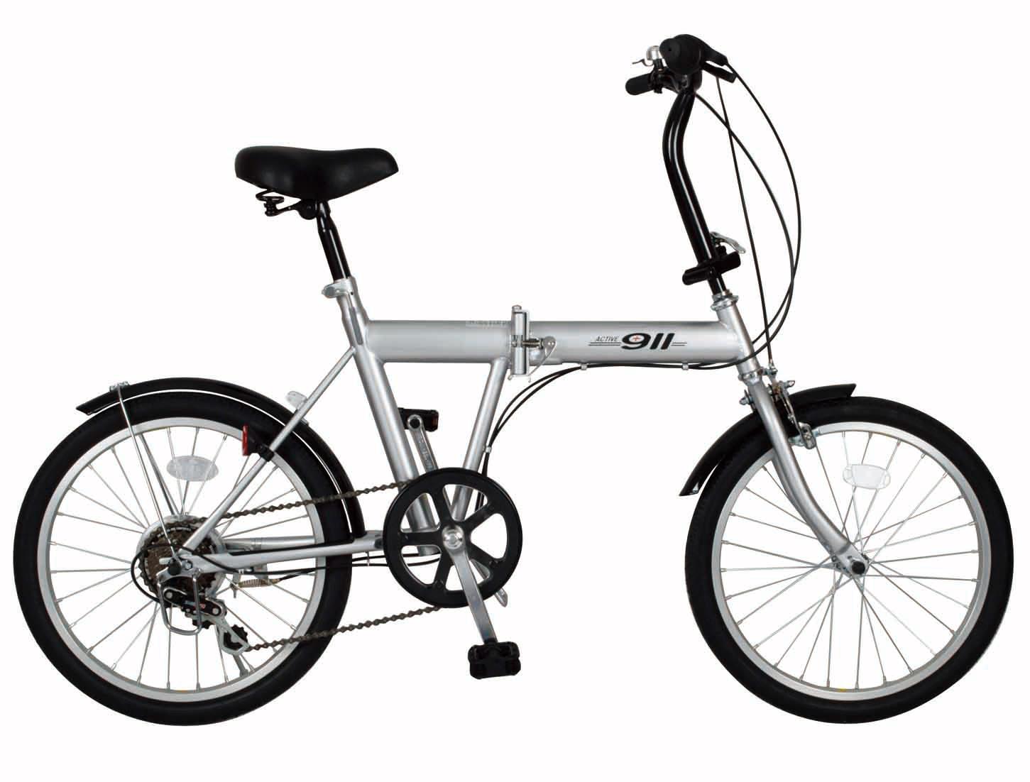 ノーパンク折たたみ自転車 シルバー
