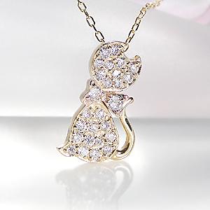 ☆K18YG 0.2ct ダイヤモンド キャット モチーフ ペンダント【ねこ】【送料無料】【ダイヤ】