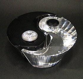 スワロフスキー226820・インヤン(陰陽) キャンドルホルダー2燈  W12.5XH6cm