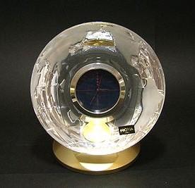 ホヤ 【クリスタル・クロック】  地球儀デスククロック  H14cm 099EE