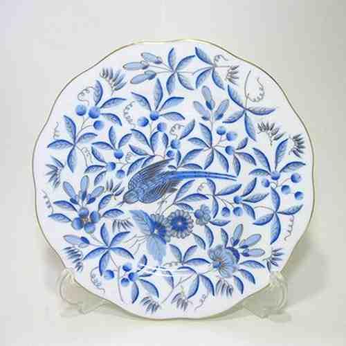 ヘレンド・青の動物園ZOBA・金彩 19cmプレート20517
