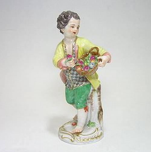 マイセン人形・子供園芸家 花かごを持つ少年・60308