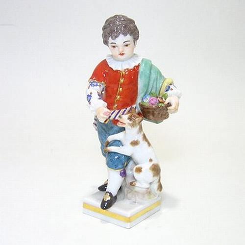 マイセン人形・子供園芸家 犬と少年・60438