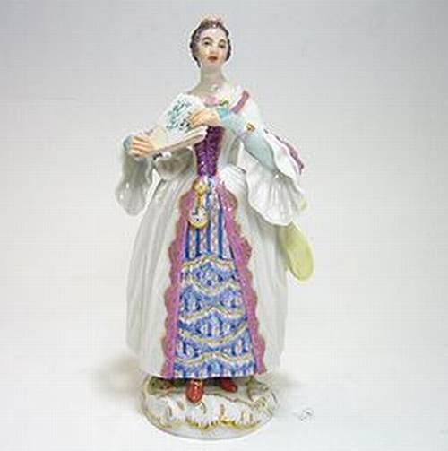 マイセン人形・パリの行商人 扇子を持つ 時告げ娘・60251