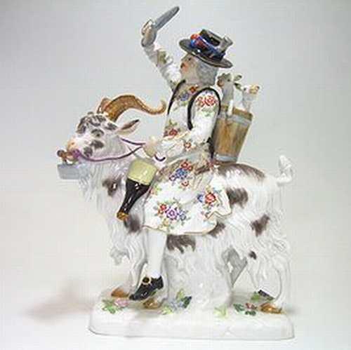 マイセン人形・ヴィルトシャフテン 山羊に乗った仕立て屋さん・73011