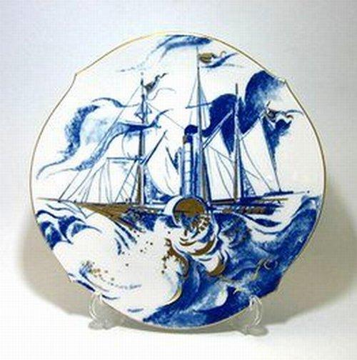 マイセン・イヤープレート 2001年・郵便蒸気船ソルベイ