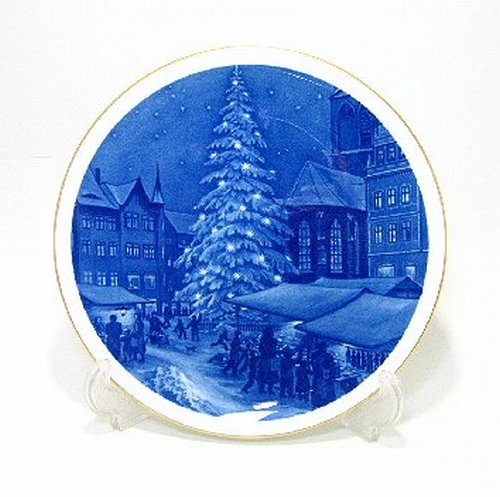 マイセン・1996年復刻イヤープレート「1956年・マイセン市のクリスマス市場」