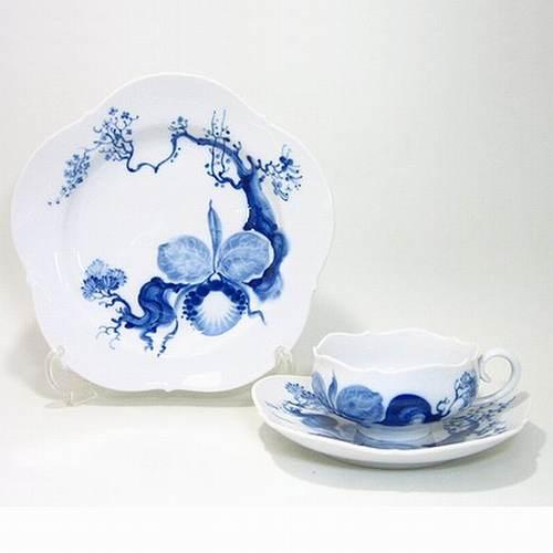 マイセン 【ブルーオーキッド】 ティーC/S・21cmプレート