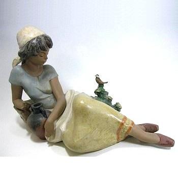 リヤドロ・真正ロゴ 13514 Woman with Bird