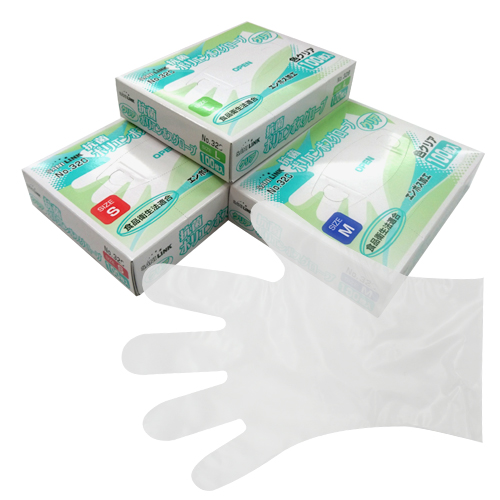 No.329 抗菌ポリエンボスグローブ 内エンボス クリア 箱入り(6,000枚)抗菌タイプ食品衛生法適合ポリグローブ【使い捨て手袋・ディスポ手袋・ポリエチレン・ポリグローブ・調理用手袋・食中毒対策】