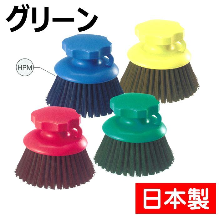 【日本製】 高砂 HPM ハンド磁性ブラシ 丸型 グリーン 57074