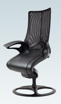 不要チェア無料引取り中 オカムラ レオパード ローバック CE73BRブラックフレーム 座:革張り仕様 固定タイプ [オフィスチェア]
