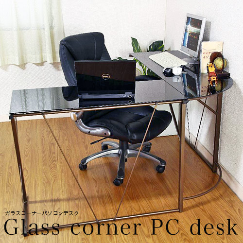 パソコンデスク L字型 ガラスデスク ガラス 黒 オフィスデスク 学習机 PCデスク 一人暮らし シンプル パソコン台 L字型 北欧 ワンルーム 勉強机 人気