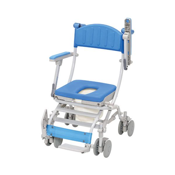 (当店は土日はポイント+5倍!!)(代引き不可) シャトレチェアC 4輪自在タイプ O型シート バケツ付 STR6203 ウチヱ (お風呂 椅子 浴用 シャワーキャリー 折りたたみ) 介護用品