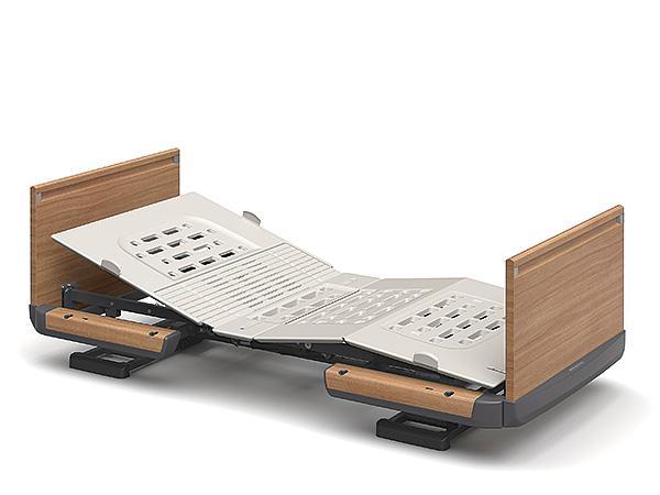 (代引き不可)楽匠Z 1モーション 木製ボード 脚側 高 スマートハンドル付 / KQ-7103S 83cm幅 ミニ パラマウントベッド 介護用品