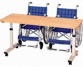 (代引き不可) プラス 折りたたみ式昇降リハビリテーブル RZ-1260N 幅120cm (車いす用テーブル 昇降テーブル 施設用 折りたたみ式) 介護用品