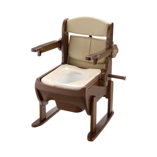 木製きらく 片付け簡単トイレ 肘掛跳ね上げ 19224 普通便座 リッチェル (ポータブルトイレ 木製 介護 トイレ 肘付き椅子) 介護用品