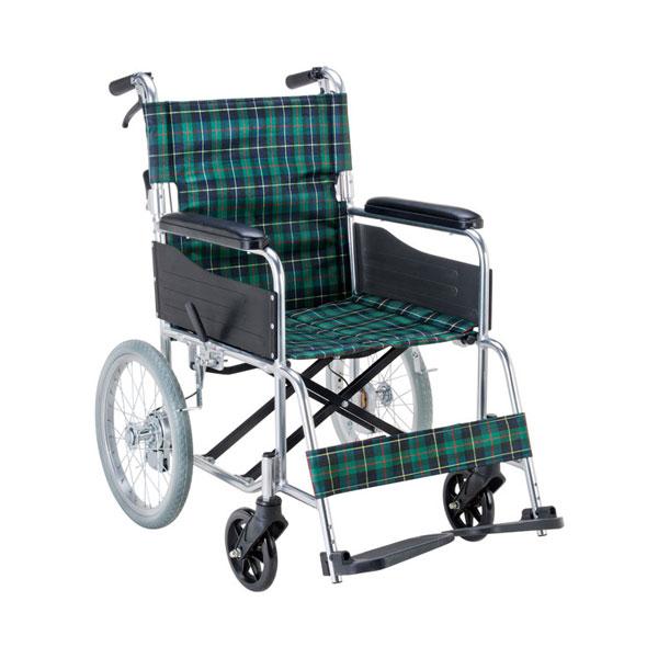 ノーパンクタイヤを標準装備 (代引き不可) エコノミー 介助用車いす EW-30GN 緑チェック マキテック (介助用 車椅子 折り畳み コンパクト) 介護用品