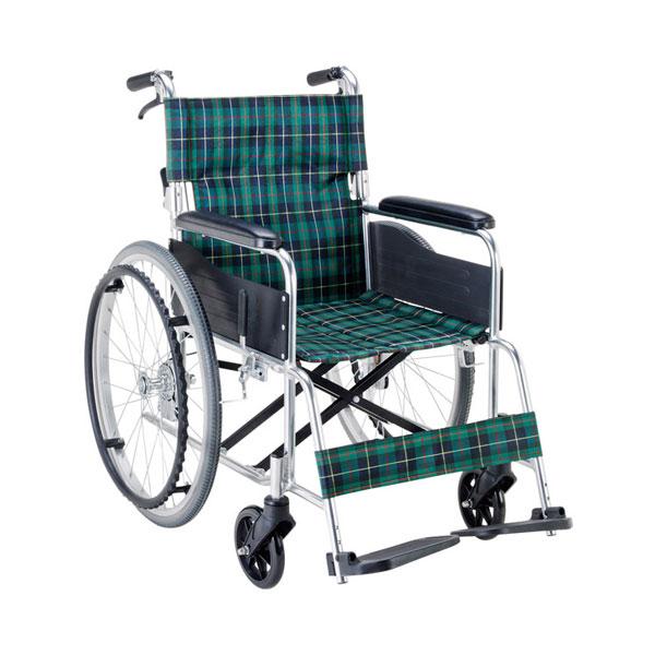 【当店は土日はポイント+5倍!!】(代引き不可) エコノミー 自走用車いす EW-50GN 緑チェック マキテック (自走式車いす 車椅子 折り畳み) 介護用品
