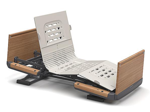 (代引き不可)楽匠Z 2モーション 木製ボード 脚側 高 スマートハンドル付 / KQ-7203S 83cm幅 ミニ パラマウントベッド介護用品