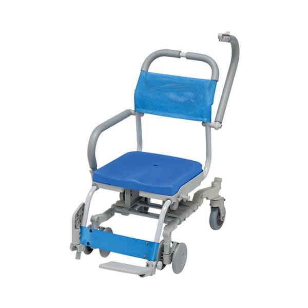 【当店は土日はポイント+5倍!!】(代引き不可)シャワーラク 4輪自在 穴無しシート SWR-131 ウチヱ(お風呂 椅子 浴用 シャワーキャリー 背付き 介護 椅子) 介護用品