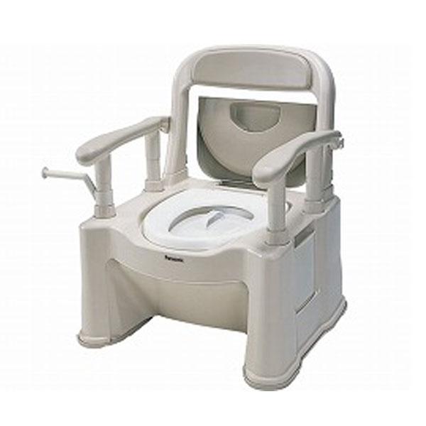 パナソニック 樹脂製ポータブルトイレ 座楽SPシリーズ 背もたれ型SP 標準便座タイプ VALSPTSPBE (ポータブルトイレ 肘付き椅子 プラスチック 椅子) 介護用品