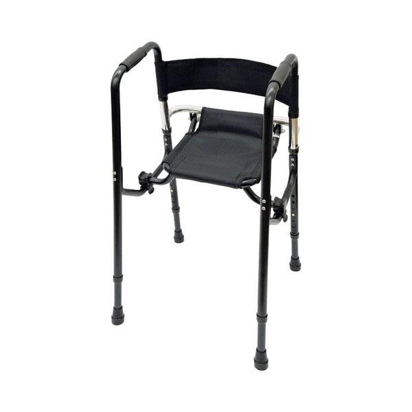 Rec01コンパクト ブラック 礎 (歩行器 歩行補助 折りたたみ 座面) 介護用品