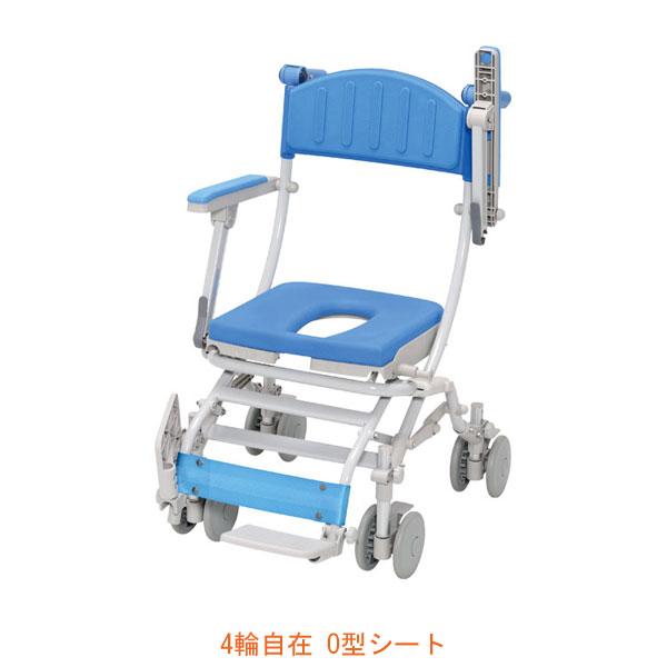 (代引き不可) シャトレチェアC 4輪自在タイプ O型シート STR6200 ウチヱ (お風呂 椅子 浴用 シャワーキャリー 折りたたみ) 介護用品