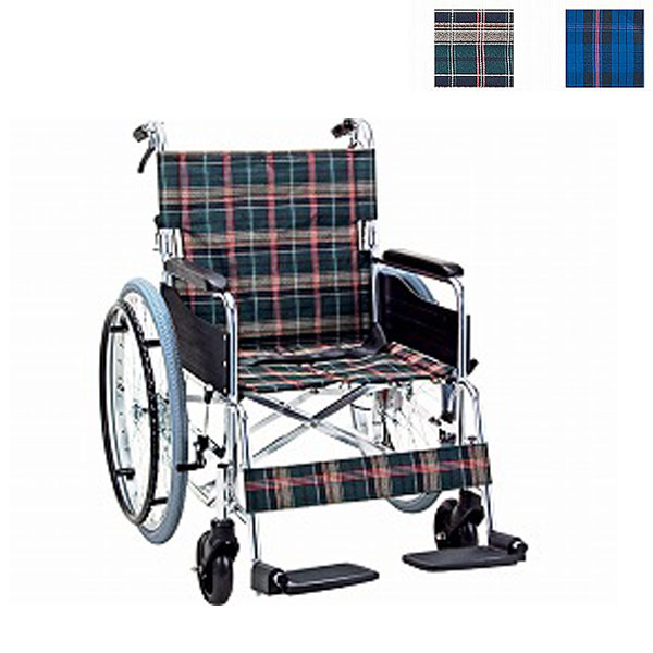 (4/5日限定 当店全品ポイント2倍!!)(代引き不可) アルミ自走用ワイドタイプ車いす KS50-4643 マキライフテック (自走式車いす 車椅子 折り畳み) 介護用品