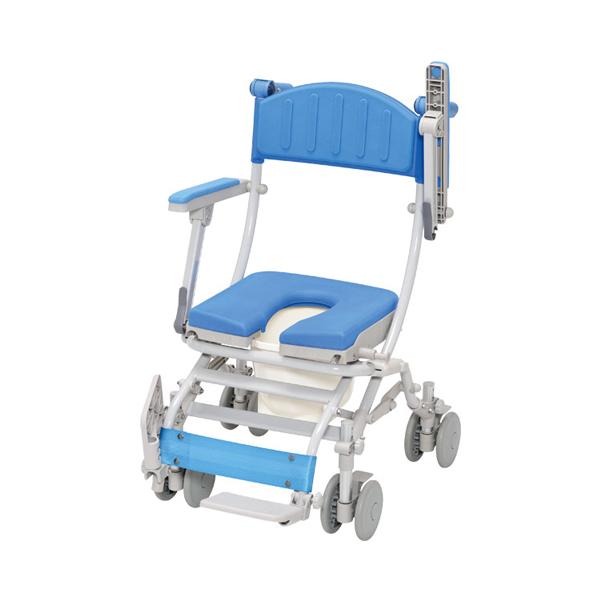(代引き不可) シャトレチェアC 4輪自在タイプ U型シート バケツ付 STR6204 ウチヱ (お風呂 椅子 浴用 シャワーキャリー 折りたたみ) 介護用品