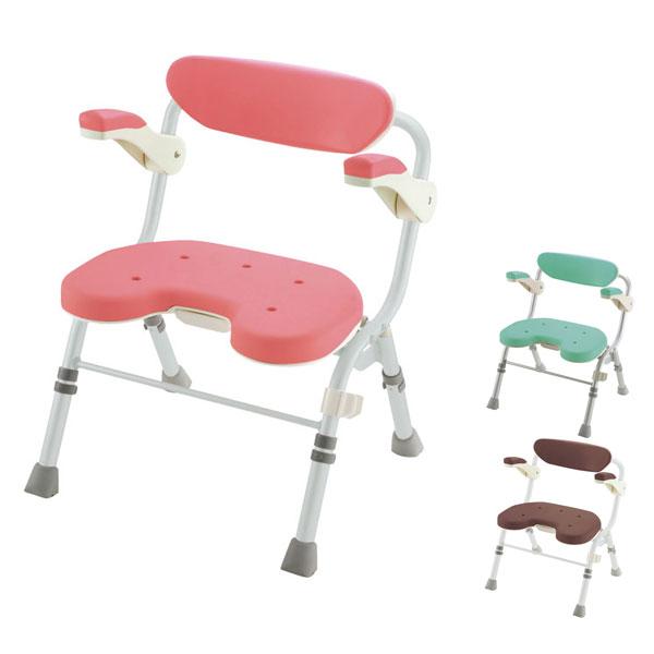 リッチェル 折りたたみシャワーチェア U型肘掛付 48081 48082 48086 (入浴用品 入浴用椅子 お風呂用いす) 介護用品