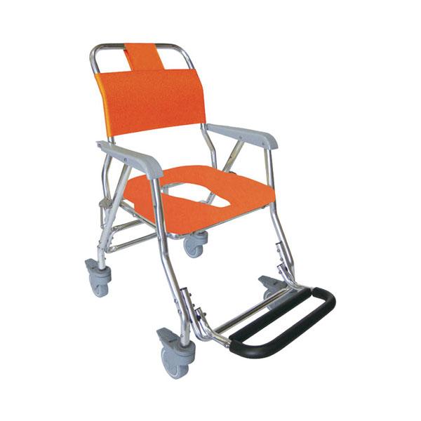 (4/5日限定 当店全品ポイント2倍!!)(代引き不可)睦三 シャワーキャリー LX 5002 標準座面 O型ソフトシート 4輪キャスタータイプ (お風呂 椅子 浴用椅子 シャワーキャリー 背付き 介護) 介護用品