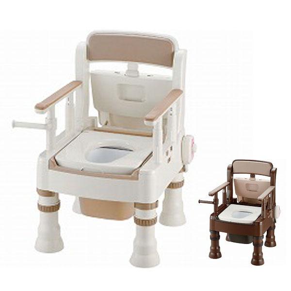 ポータブルトイレ きらく Mシリーズ ミニでか MH型 暖房便座 リッチェル (ポータブルトイレ 介護 トイレ 肘付き椅子 暖房便座) 介護用品