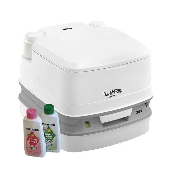 (代引き不可)水洗式ポータブルトイレ ポルタポッティキューブピストンポンプ PPQ345 ホワイト カーメイト 介護用品