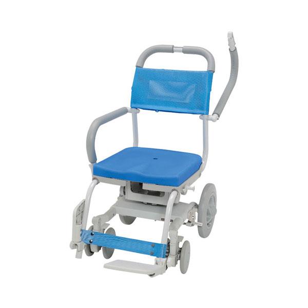 (代引き不可) くるくるチェアD 穴無しシート KRU-173 ウチヱ (コンパクトシャワーキャリー 入浴用車いす) 介護用品