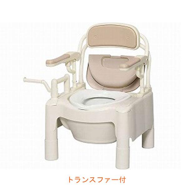 """安寿 ポータブルトイレ FX-CPはねあげ """"はねあげちびくまくん"""" トランスファー付 870-072 アロン化成 (ポータブルトイレ 肘付き椅子 プラスチック 椅子 スライドボード) 介護用品"""