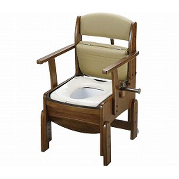 木製トイレ きらく コンパクト 18510 普通便座 リッチェル (ポータブルトイレ 木製 介護 トイレ 肘付き椅子 コンパクト プラスチック 椅子) 介護用品