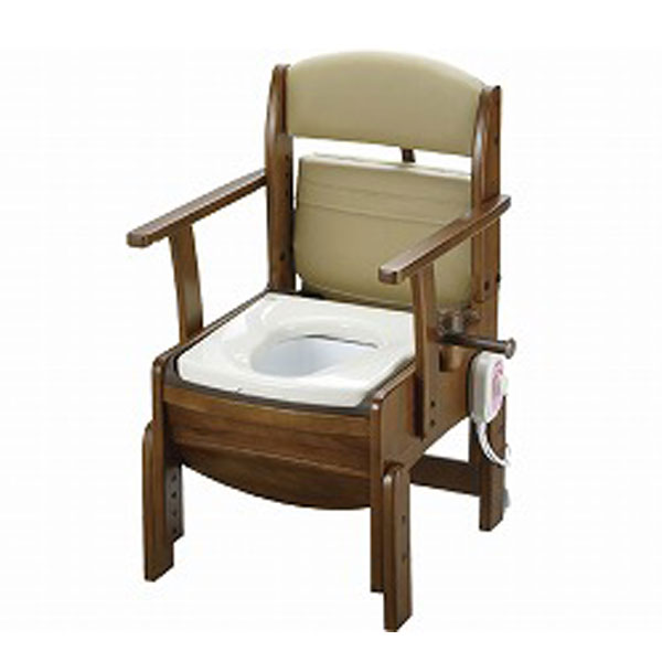 木製トイレ きらく コンパクト 18530 暖房便座 リッチェル (ポータブルトイレ 木製 介護 トイレ 肘付き椅子 コンパクト 暖房便座) 介護用品