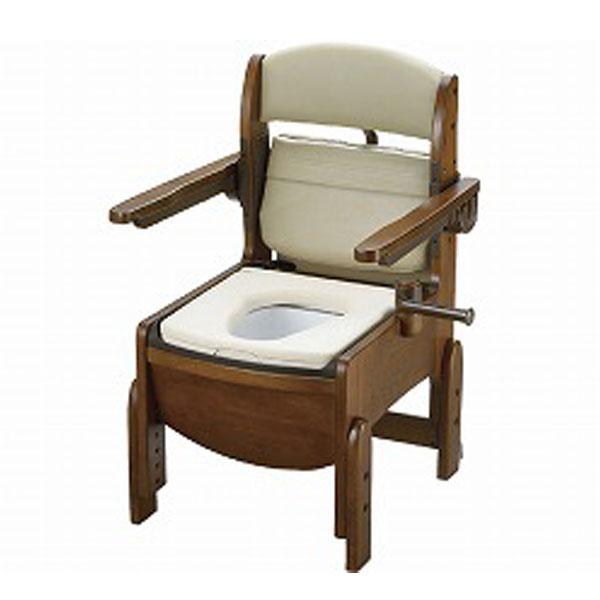 木製トイレ きらく コンパクト 肘掛跳ね上げ 18560 やわらか便座 リッチェル (ポータブルトイレ 木製 介護 トイレ 肘付き椅子 コンパクト 便座クッション) 介護用品